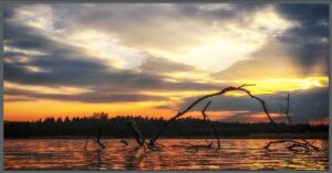 image on sunset over lake