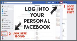 log in to your personal facebook