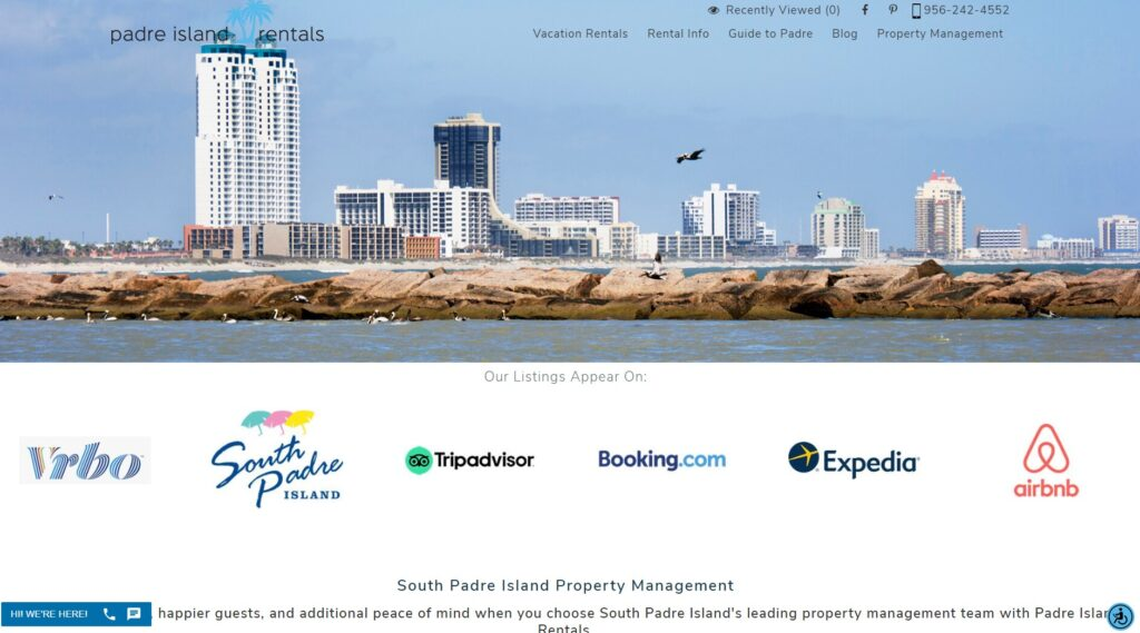 property management page from padre island