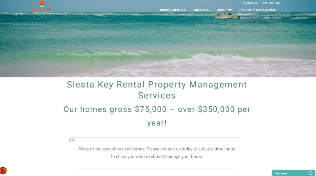 property management page from siesta key