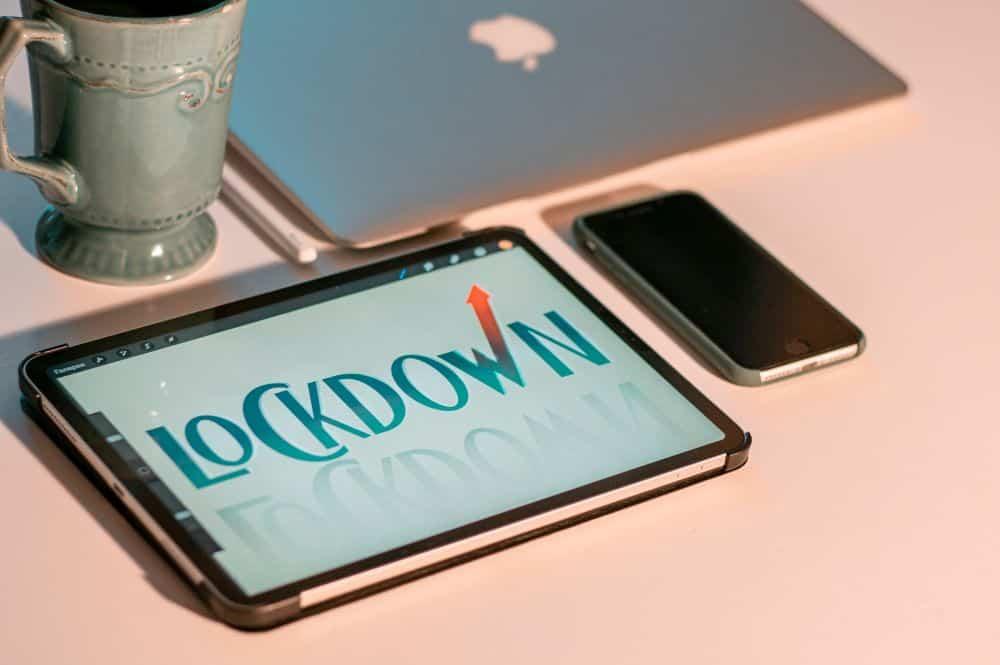 tablet with lockdown written on it